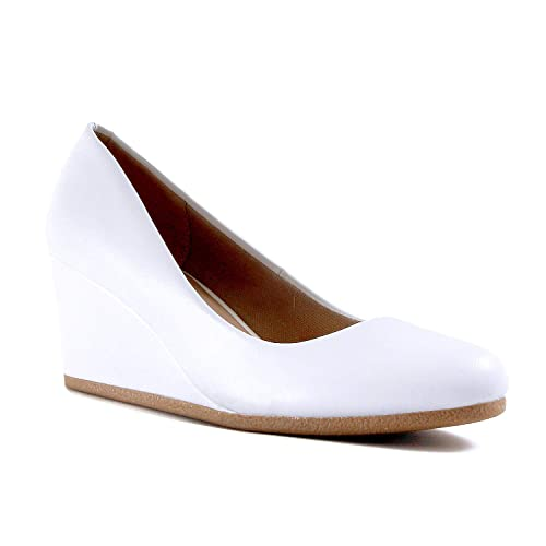 70e33a066 Guilty Shoes Guilty Heart | Classic Office Comfortable Wedge | Soft Mid Low  Heel Round Toe