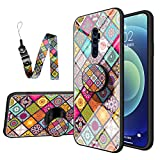 JZ Reno 10x Zoom Pictures National Style Flower Design Glass Funda For para OPPO Reno 10x Zoom Pictures with Long Wrist Strap Soft Edge + Tempered Glass Back Cover - A