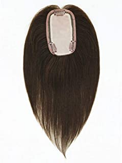 UniWigs Remy Human Hair Topper Pieces, Silk Top Clip In Hair Pieces 12 Inches Length For Hair Loss (dark brown)