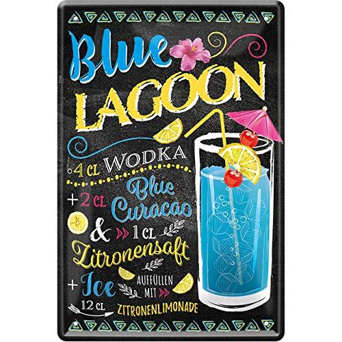 """schilderkreis24 – Blechschild Cocktail Rezept """"Blue Lagoon"""" Deko Bar Küche Kneipe Pub Theke Geschenk Geschenkidee Geburtstag Weihnachten Alkohol Longdrink Tonic Spirituosen Trinker 20x30 cm"""