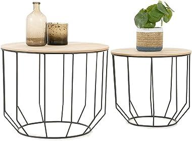 LIFA LIVING, Table Gigogne Bois et Metal Ronde, Table Basse Design Bois en Lot de 2, Petite Table Basse Gigogne Scandinave, T