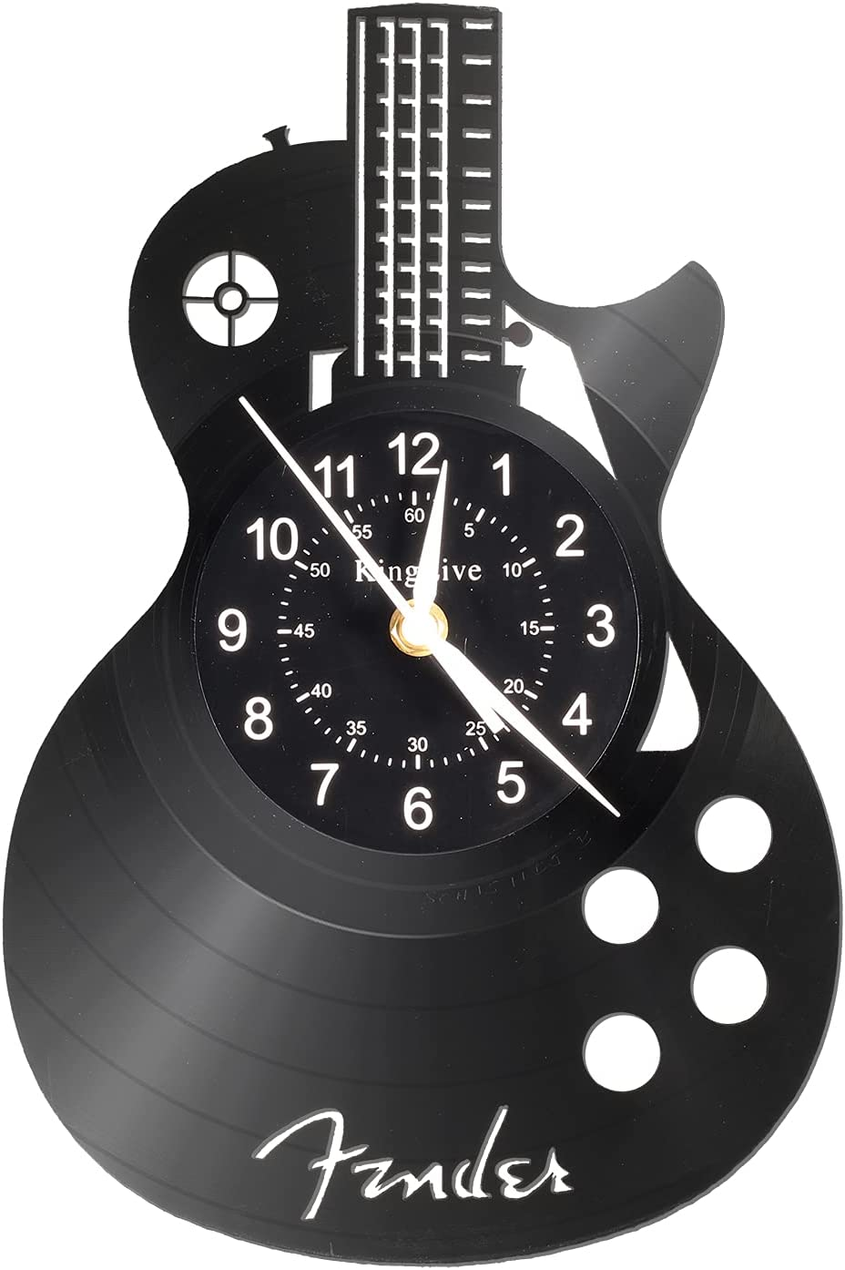 """Guitar Vinyl Wall Clock Gifts for Holiday ,12""""Black Music Wall Clock Instrument Art Unique Gifts for Men Women for Birthday Wall Decor"""