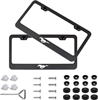 2pcs Newest Pony Logo Matte Aluminum Alloy License Plate Frame,with Screw Caps Cover Set Suit,Applicable to US Standard car License Frame,for Ford Mustang. (Pony)