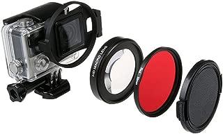 QKOO Dive Lens Kit for GoPro Hero 7 Black/Hero (2018)/Hero 6 Black/Hero 5 Black Original Waterproof Super Suit Housing Case - 58mm 16X HD Macro Close-up Lens + Diving Red Filter + Adapter Ring
