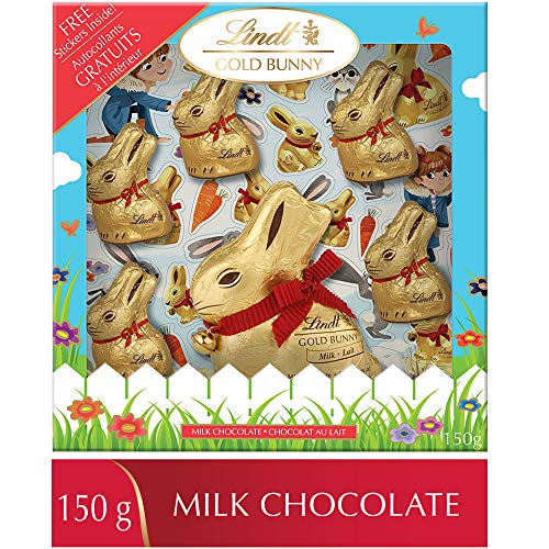 Lindt Easter Gold Bunny Sticker Gift Box Milk Chocolate, (1 x 100g + 5 x 10g), 6 Count, 150g