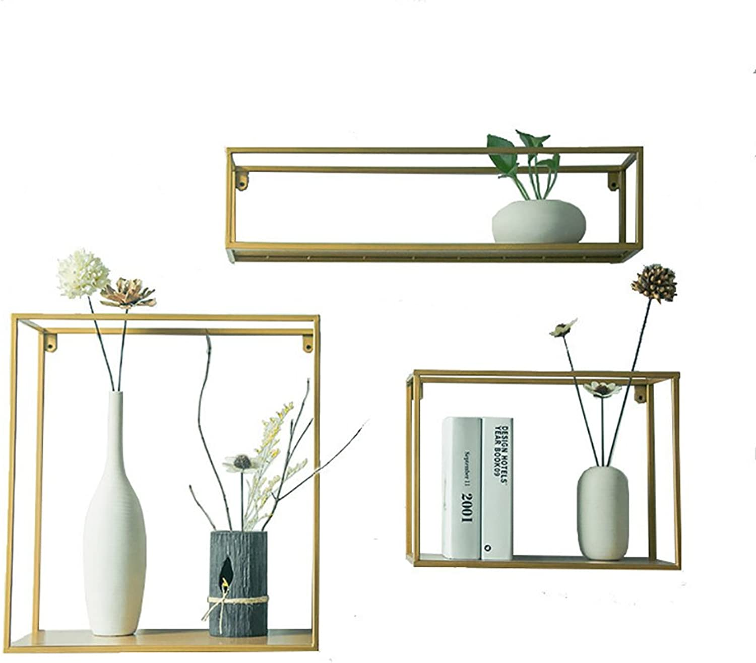 Wall Decoration Retro Bookshelf Wall Decoration Wall-Mounted Living Room Square Iron Wall Frame Shelf (color   gold, Size   2)
