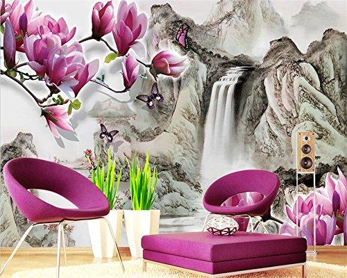 Qinmon 3D muurschildering behang decoratie muursticker maak elk mogelijke Magnolia-Chinesefoto Bijzonder aan muurstickers woonkamer slaapkamer 150cmX100cm|59.05(in) X39.37(in)