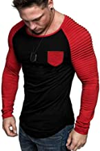 Fashion Top Men's Casual Slim Camouflage Patchwork Long Sleeve T Shirt