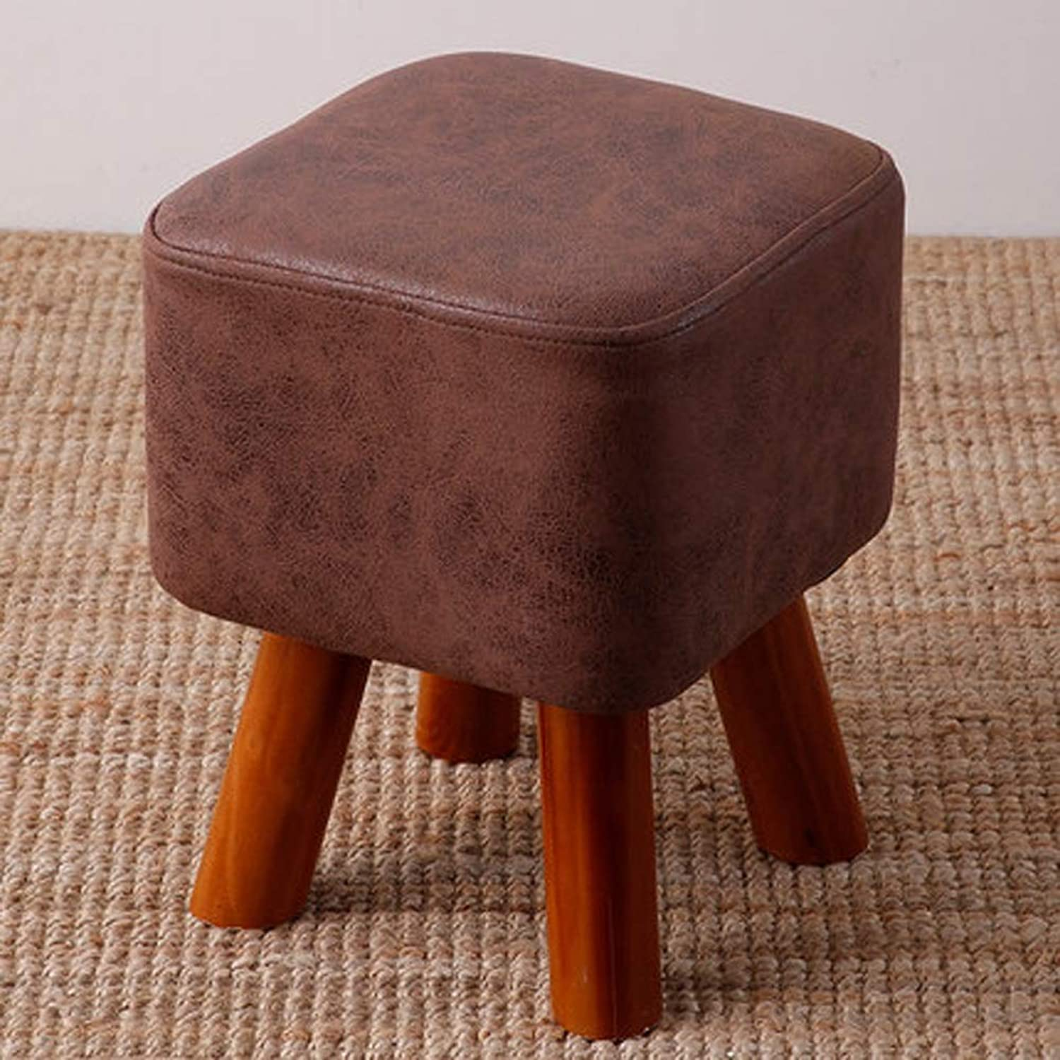 AINIYF Solid Wood Heightening Stool Creative Living Room Change shoes Stool Fashion Adult Stool Fabric Sofa Bench Home Bench Square Footstools 4 Leg Stands-34x28cm (color   C)