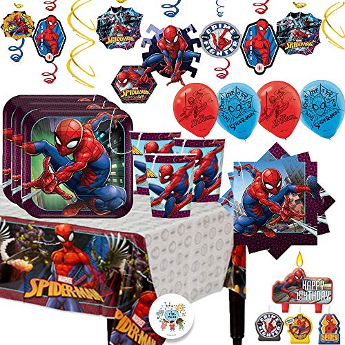 Great Features Of Spiderman MEGA Birthday Party Supplies Pack For 16 Guests With Decorations With Pl...