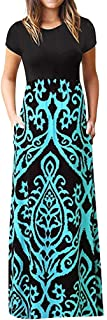 AgrinTol Women Fashion Party Dresses, Women's Casual Loose Short Sleeve O-Neck Print Boho Long Dresses with Pockets