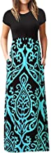 Todaies Women's Print Maxi Dress, Casual Sleeve O-Neck Tank Long Dress