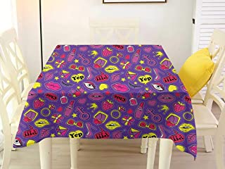 L'sWOW Square Tablecloth Grey Emoji Nineties Comic Book Style Icons for Women with Cosmetics Stars Lips Hearts on Purple Multicolor Plaid 50 x 50 Inch