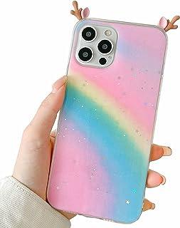 Nadoli for iPhone SE 2020 Case,Rainbow Color Design Cute Kawaii Deer Ear 3D Cartoon Shiny Bling Glitter Teens Girls Women ...