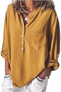 Mogogo Women's V-Neck Shirts Solid Color Loose Fashional Pocket Top