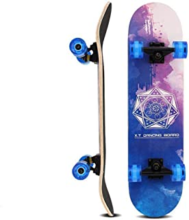 Skateboard, Standard Skateboards with Colorful Flashing Wheels for Beginners Kids Boys Girls Teenager- 31''x 8''Canadian M...
