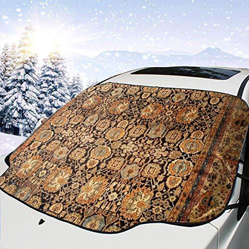 Lilyo-ltd Antike persische Malayer Teppich Auto Windschutzscheibe Sonnenschutz Schnee Abdeckung für die meisten Autos, SUV, LKW, Schutz blockiert Wärme und Sonne, hält Ihr Fahrzeug kühl