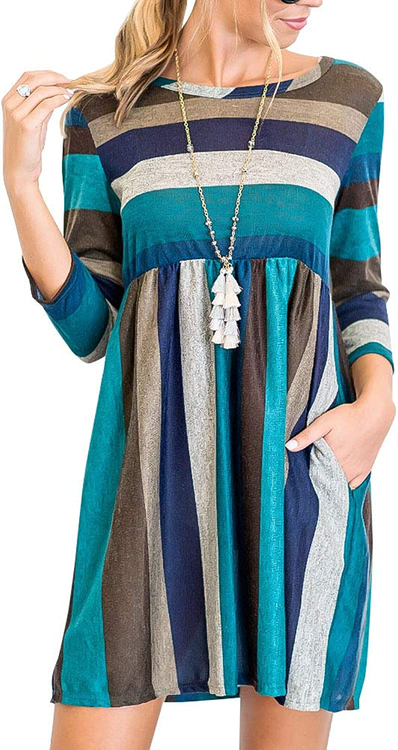 Intimate Boutique Women's 3 4 Sleeve Striped Dress with Side Pockets