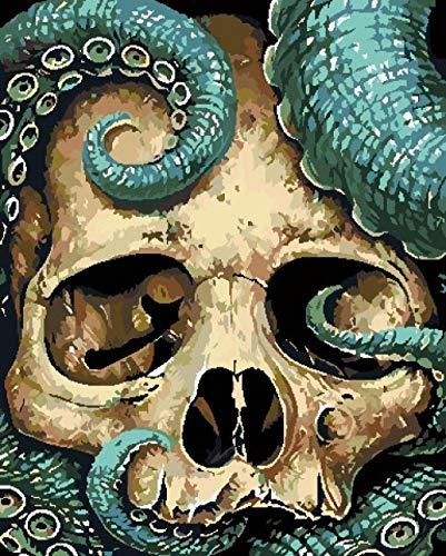 BUFUXINGMA Pintar por Números Kits Pintura por Números Adultos Niños Principiante DIY Pintura Al Óleo por Números Decoración del Hogar, Serpiente Azul Esqueleto 40X50Cm Marco de Madera