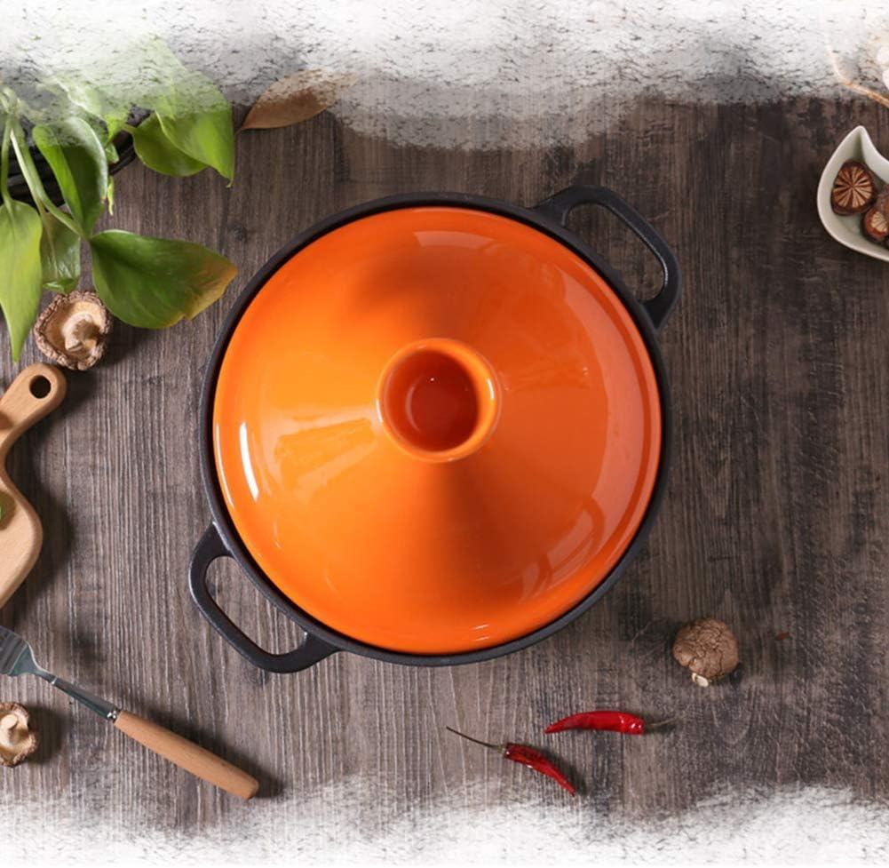 H.aetn Tajine en Fonte de 7,9 po, Tangine en Fonte émaillée avec Couvercle en céramique de Cuisson Tajine Pot Casserole Pot pour la Cuisine à Domicile, Rose Orange