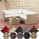 CLP Poly-Rattan Lounge-Set GENERO 5mm l Garten-Set mit 5 Sitzplätzen l Garnitur mit Aluminium-Gestell l Komplett-Set bestehend aus: 3er Sofa + 2er Sofa + Tisch cremeweiß, Natura