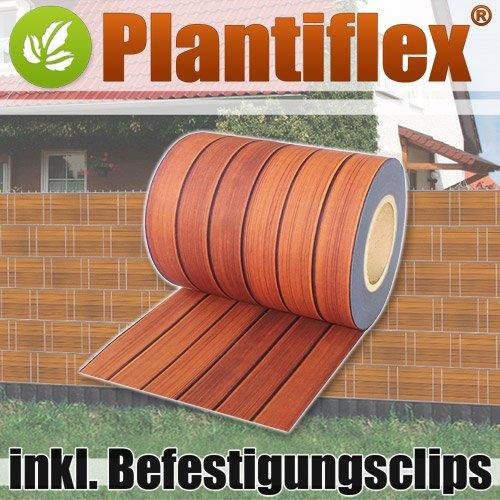 Plantiflex Sichtschutz Rolle 35m Blickdicht PVC Zaunfolie Windschutz für Doppelstabmatten Zaun (Holzdekor)