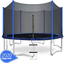 ORCC 15 14 12 10FT Kids Trampoline, TÜV Certificated Yard Trampoline with Enclosure Net Jumping Mat Spring Pad Wind Stakes Rain Cover and Pull T-Hook,Including All Accessories