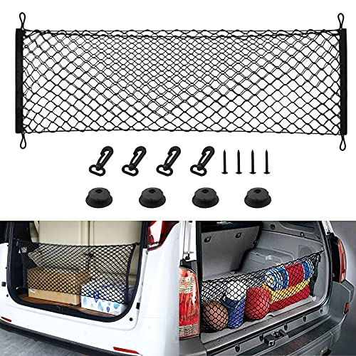 Rear Cargo Net Stretchable,Universal Adjustable Trunk Cargo Storage Organizer Compatible for SUV, Jeep, Truck,Storage Nylon Mesh Double-Layer with Hooks