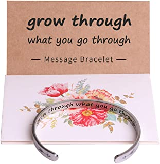 Inspirational Bracelets for Women Personalized Mantra Jewelry, Best inspiring Gifts for Her Engraved Hidden Message Quote Cuff Bangle,Motivational Gifts for Teen Girls Friends