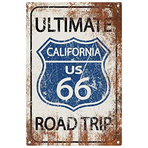 Fhdang Decor Ultime Road Trip Sign, Route 66 Sign, Décor de Vacances, des Signes de Vacances, Route Décor, Plaque en métal, 30,5 x 45,7 cm