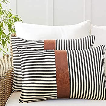 cygnus 12x20 inch Lumbar Pillow Covers Farmhouse Decorative Black Stripe Pillowcase Leather Accent Cushion Covers for Couch Sofa Set of 2,Black
