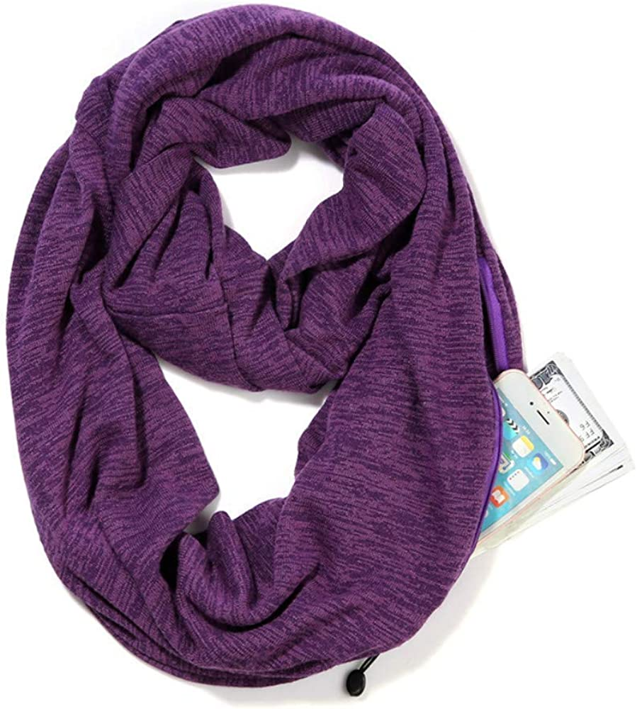 Infinity Scarf with Hidden Zipper Pocket for Women Girls - Soft Stretchy Convertible Pocket Scarf