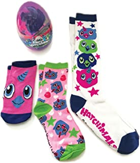 Hatchimals Socks For Girls 3 Pair inside a Hatchimal Egg No Show Crew and Knee (Fits Shoe Size 3-9, Purple Egg)