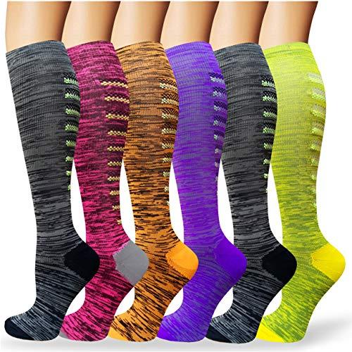 Calcetines de Compresión Medias de Compresion Mujer y Hombre para Running,Atlético, Ciclismo,Médico, Enfermera,Volar, Viajar