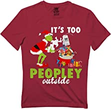 Flagtee It's Too Peopley Outside Grinch & Dog Christmas Pajamas Funny T-Shirt