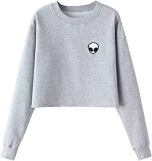 T Shirt Women Long Sleeve O-Neck Casual Tops Alien Print Top Tees Blusas Plus Size