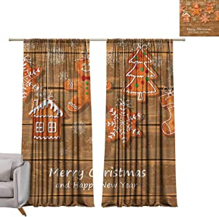 berrly Room Darkening Wide Curtains Gingerbread Man,Funny Watercolor Cookies on Wooden Boards Delicious Xmas Pastry, Brown Orange White W96 x L108 Thermal Insulating Blackout Curtain