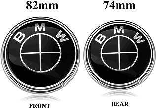 BMW Emblems Hood and Trunk, 82mm + 74mm Black BMW Logo Replacement for ALL Models BMW E46 E30 E36 E34 E38 E39 E60 E65 E90 325i 328i X3 X5 X6 1 3 5 6 7 (74MM+82MM)