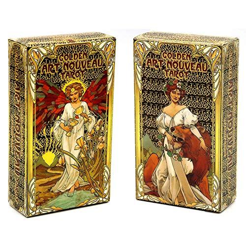 YOYOTECH 2021 Nuevo Golden Art Nouveau Tarot Cards 78Pcs Fate Prediction Tarot Deck Juego de Mesa de adivinación Oculta para Adultos Magical Oraclee Game Card Tarot