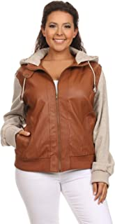 Women's Junior Plus Size Hooded Faux Leather Zip Up Long Sleeve Bomber Jacket