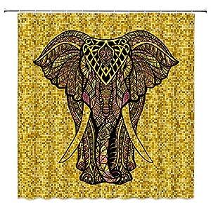 Elephant Shower Curtain Golden Twinkling Elephant Fantasy India Animal Ethnic Boho Mandala Colorful African Wildlife Kids Bathroom Home Decor Black Fabric Bathroom Curtain 70x70Inch with Hooks …