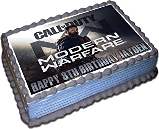 Call Of Duty Modern Warfare Personalized Cake Topper Icing Sugar Paper 1/4 8.5 x 11 Inches Sheet Edible Frosting Photo Birthday Cake Topper (Best Quality Printing)