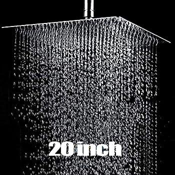Con Boquilla Antiincrustante LARS360 Plaza 16-40 x 40cm Moderno Ultrafino Cabezal de Ducha Fijo Ultrafino de Acero Inoxidable Cuadrado de Cuadrado Cascada Cabezal de Ducha de lluvia