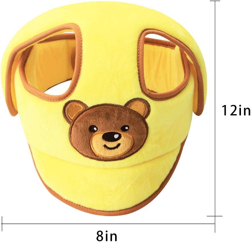 protector de cabeza para ni/ños peque/ños aprenden a caminar gorro ajustable protector de cabeza de beb/é vocheer Casco de seguridad para beb/é amarillo