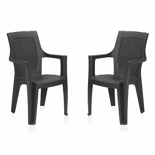 Nilkamal Mystique Chair, Set of 2 (Charcoal Grey)