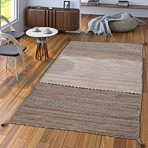 Alfombra Diseño Kilim Tejida A Mano 100% Algodón Moderna Estampada Beige, Größe:60x110 cm