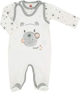 Makoma 100% Baumwolle Baby Strampler Set mit Langarm Shirt Mädchen und Jungen Erstausstattung für Neugeborene Teddybär