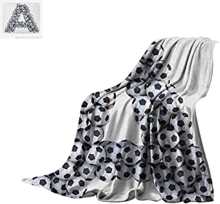 Luoiaax Letter A Throw Blanket Realistic Soccer Balls in Form of Capital A Sports Play League Competition Theme Print Artwork Image 90