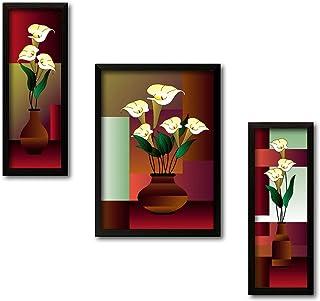 PAPER PLANE DESIGN UV Textured Modern Art Print Framed Painting Set of 3 for Home Decoration - Size 35 X 2 X 50 cm