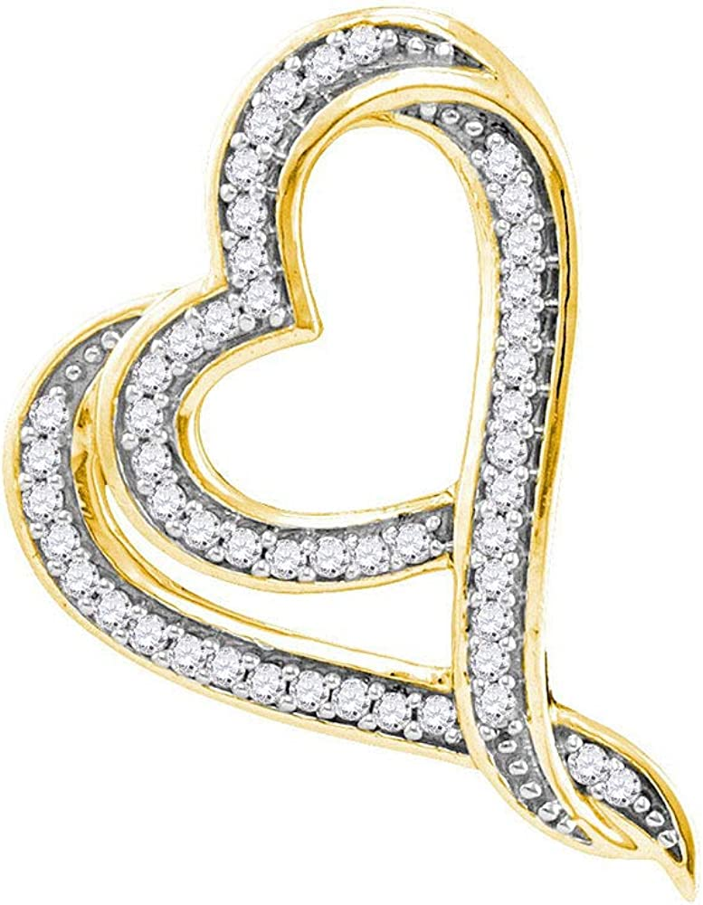 Attention brand Diamond Heart Pendant Solid 10k Yellow Charm 1 Gold High quality 8 Ctw.
